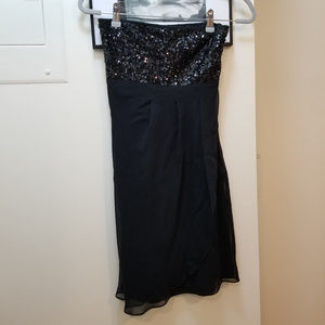 Black sequined strapless cocktail dress